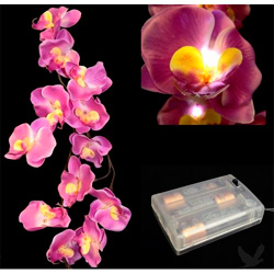 Purple orchid garland with LED lights