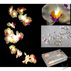 White orchid garland with LED lights