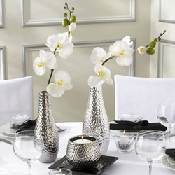 Centerpiece set with black and white orchid theme.