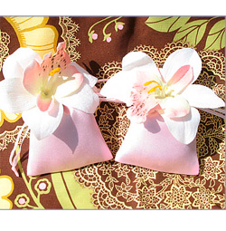 Scented drawer sachet orchid wedding favors.