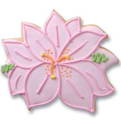 Orchid shaped cookie wedding favors.