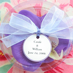 Orchid shaped soap wedding favors.
