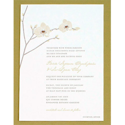 Wedding Invitation with a spray of white orchids.