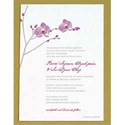 Hello Lucky Wedding Invitation with purple orchid.