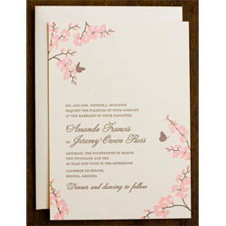 Orchid Wedding Invitation Shangri La Espresso and Rose Design