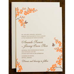 Hello Lucky Orchid Wedding Invitation Shangri La Espresso and Papaya
