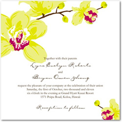 Wedding invitation featuring a vibrant green and aubergine colored orchid flower to the top left and bottom right corners.