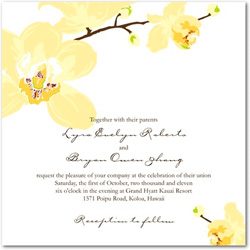 Wedding invitation featuring a soft cream colored orchid flowers to the top left and bottom right corners.