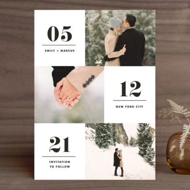 Modern, trendy save the dates from Minted with three photos and bold date text.