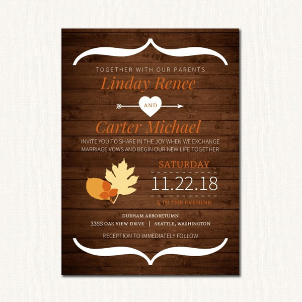 Autumn Wedding Invitation With Fall Leaves Rustic Wood