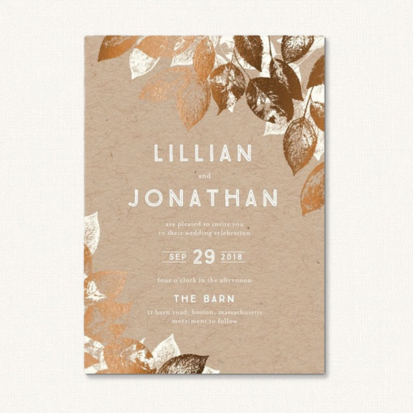 Go To Supplier · Autumn Wedding Invitations With Stamped Foil Leaves On  Kraft Background.