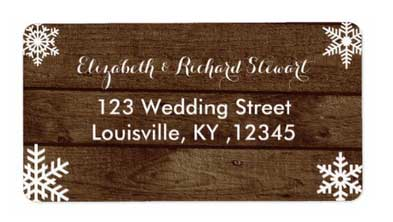 Winter barn wedding address labels.