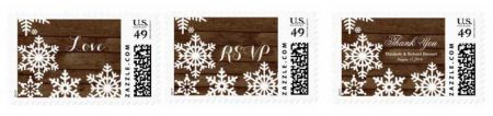 Winter barn wedding postage stamps.