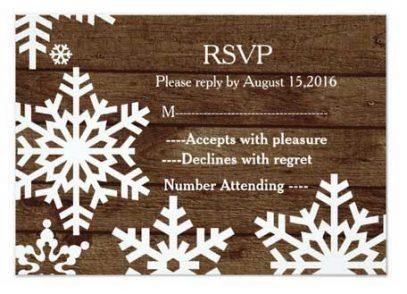 Winter barn wedding reply card.
