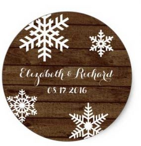 Winter barn wedding favor stickers.