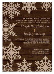 Winter barn wedding invitations on kraft paper.