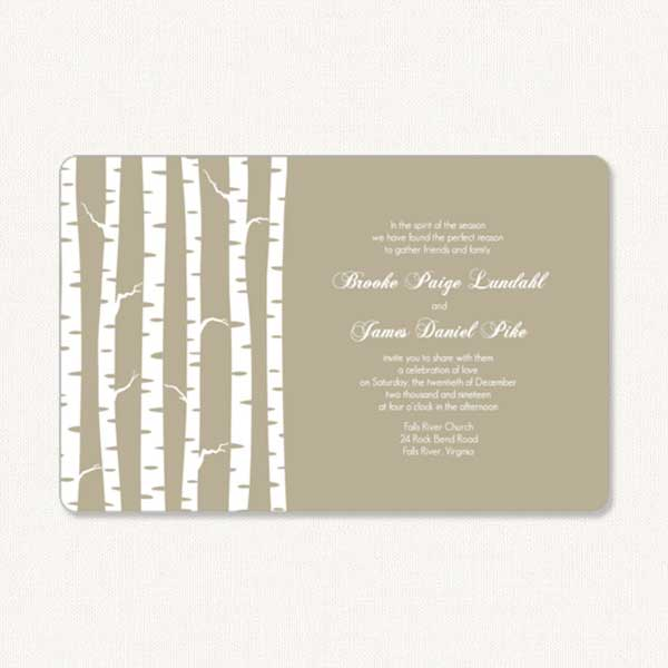 Birch wedding invitations with bare winter birch tree tree trunks and white typography.