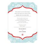 Snowflake wedding invitations with white snowflake motifs.