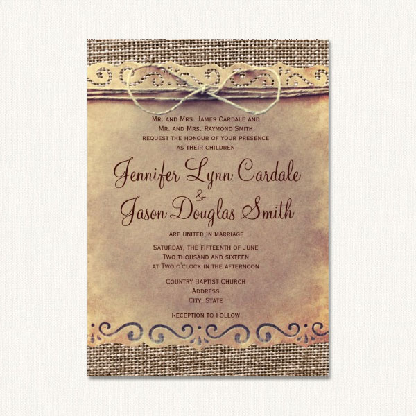 Burlap rustic wedding invitations with burlap background, vintage paper and twine.