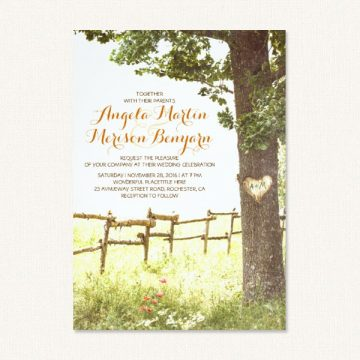 Carved tree wedding invitations with tree, heart carving, meadow, farm fence and flowers.