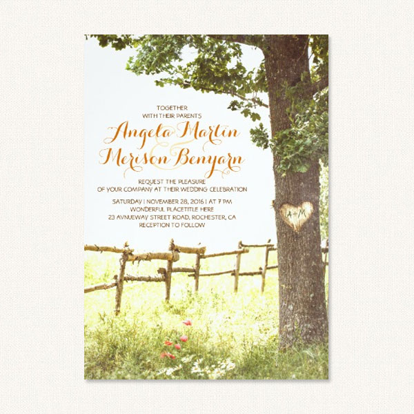 Rustic Country Heart Tree. Rustic Carved Tree Wedding Invitations ...