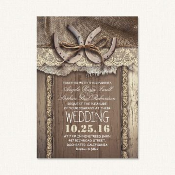 Country themed wedding invites with horseshoes, barn wood, burlap and lace.