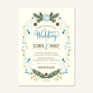 Country wedding invites with deer, pine cones and pine branches, flowers.