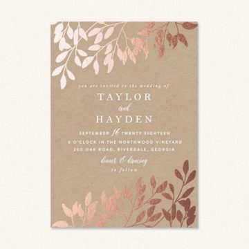 Elegant fall wedding invitations with kraft background and foil pressed leaves.