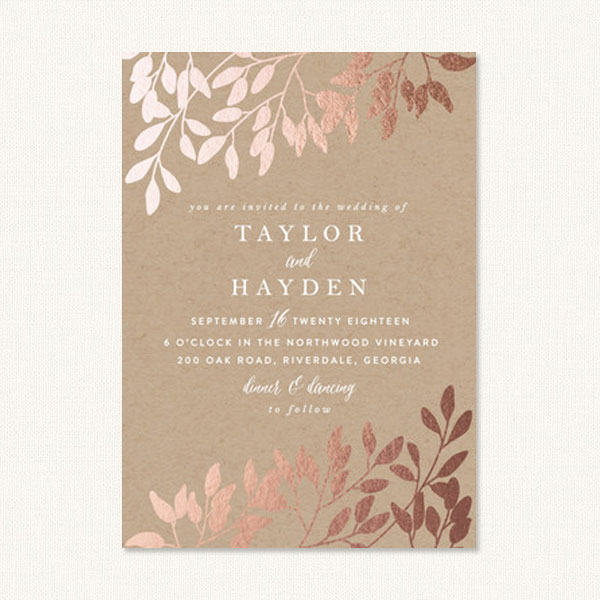 Elegant Fall Wedding Invitations With Kraft Background And Foil Pressed Leaves