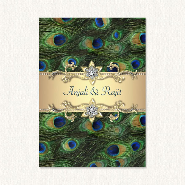 Elegant peacock wedding invitations with gold tones and peacock feathers.