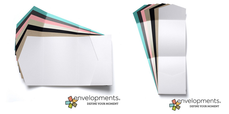 Wedding invitation and stationery folders Envelopments