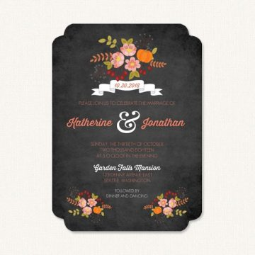 Fall autumn wedding invitations with seasonal flowers on chalkboard background.