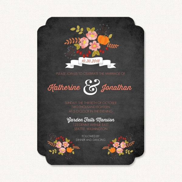 autumn floral fall autumn wedding invitations - Fall Themed Wedding Invitations