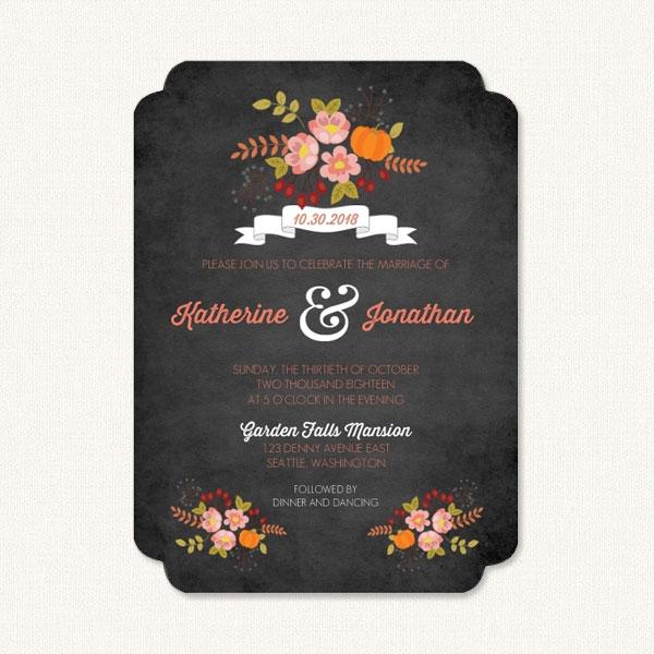 Fall autumn wedding invitations with seasonal flowers on chalkboard background.
