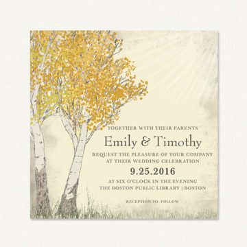 Fall tree wedding invitations with birch trees and yellow autumn leaves on textured background.