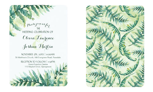 Fern green wedding invitations front and back view with green fern pattern.