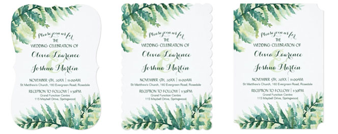 Fern green wedding invitations trim options.