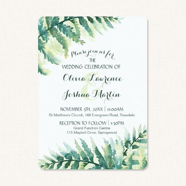 Fern green wedding invitations with green fern frond leaves.