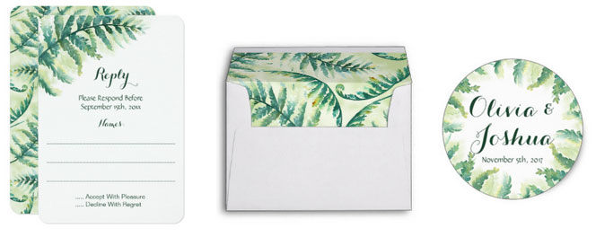 Fern green wedding reply card, envelope and sticker.