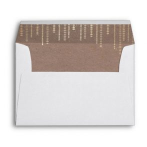 Gold glam white orchids custom envelope with matching liner.