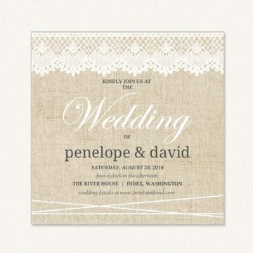 Lace burlap wedding invitations with burlap background and lace trim at the top.