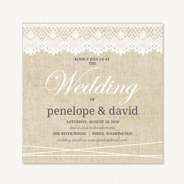 lace burlap wedding invitations with burlap background and lace trim at the top - Burlap Wedding Invitations