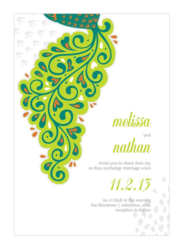 Lavish peacock wedding invitations green and lime.