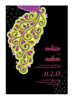 Lavish peacock wedding invitations lime green, purple on black background
