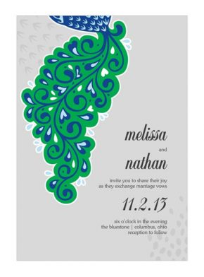 Lavish peacock invitations green, blue and gray.