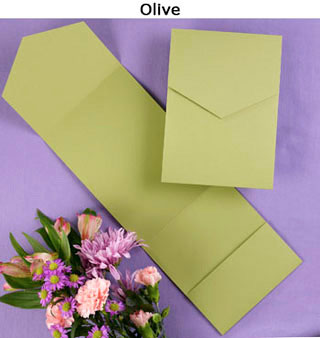 Olive green wedding invitation pocket.