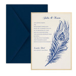 Layered Peacock Feather Wedding Invitations