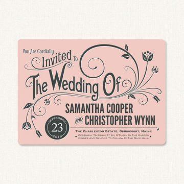 Modern vintage wedding invitations with flourish and decorative vintage style typography.