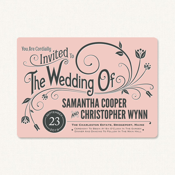 Modern vintage wedding invitations with flourish and decorative vintage style typography.