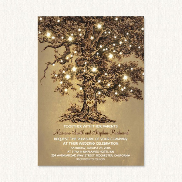 Rustic oak tree wedding invitations with vintage oak tree, string lights and personalized monogram heart tree carving.